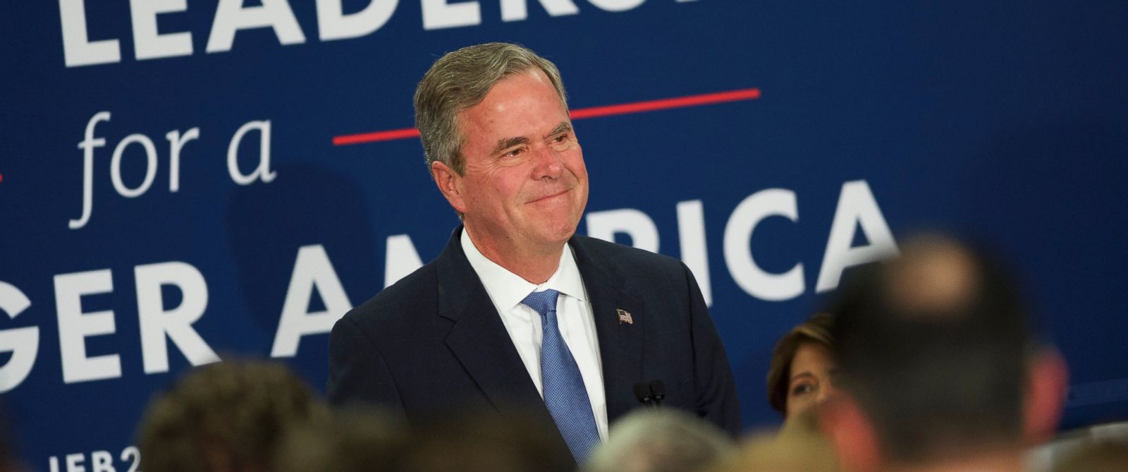 PHOTO: Jeb Bush reacts as he announces the suspension of his presidential campaign at an election night party at the Hilton Columbia Center in Columbia, S.C., Feb. 20, 2016.