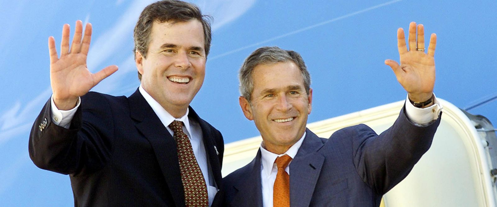 PHOTO: Florida Governor Jeb Bush, left, and his brother President George W. Bush wave from atop the stairs to Air Force One in Jacksonville, Fla., Sept. 9, 2001.