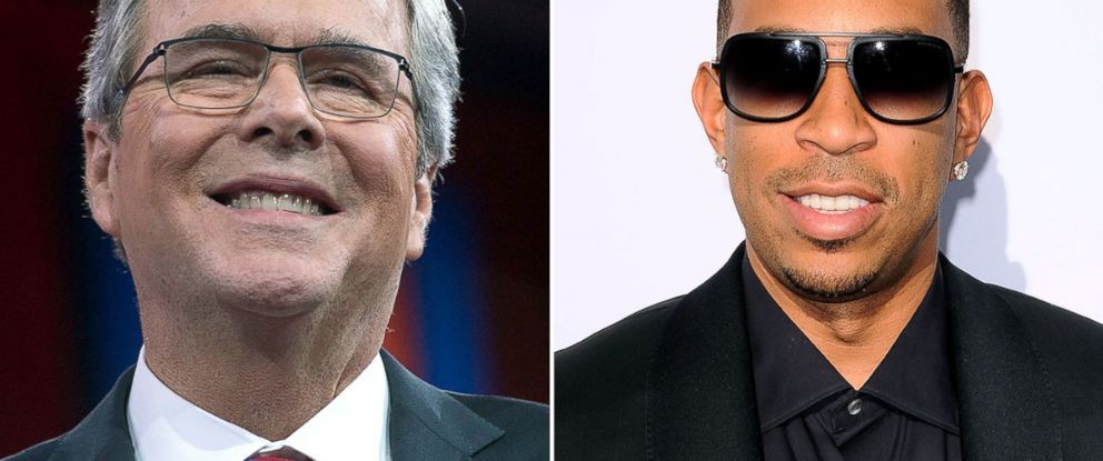 PHOTO: Jeb Bush and rapper Ludacris cross paths at the Georgia state house in Atlanta, March 19, 2015.