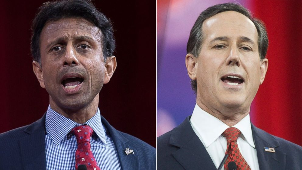 PHOTO: Bobby Jindal, left, is pictured in Washington, D.C. on Feb. 26, 2015. Rick Santorum, right, is pictured in National Harbor, Md. on Feb.27, 2015.