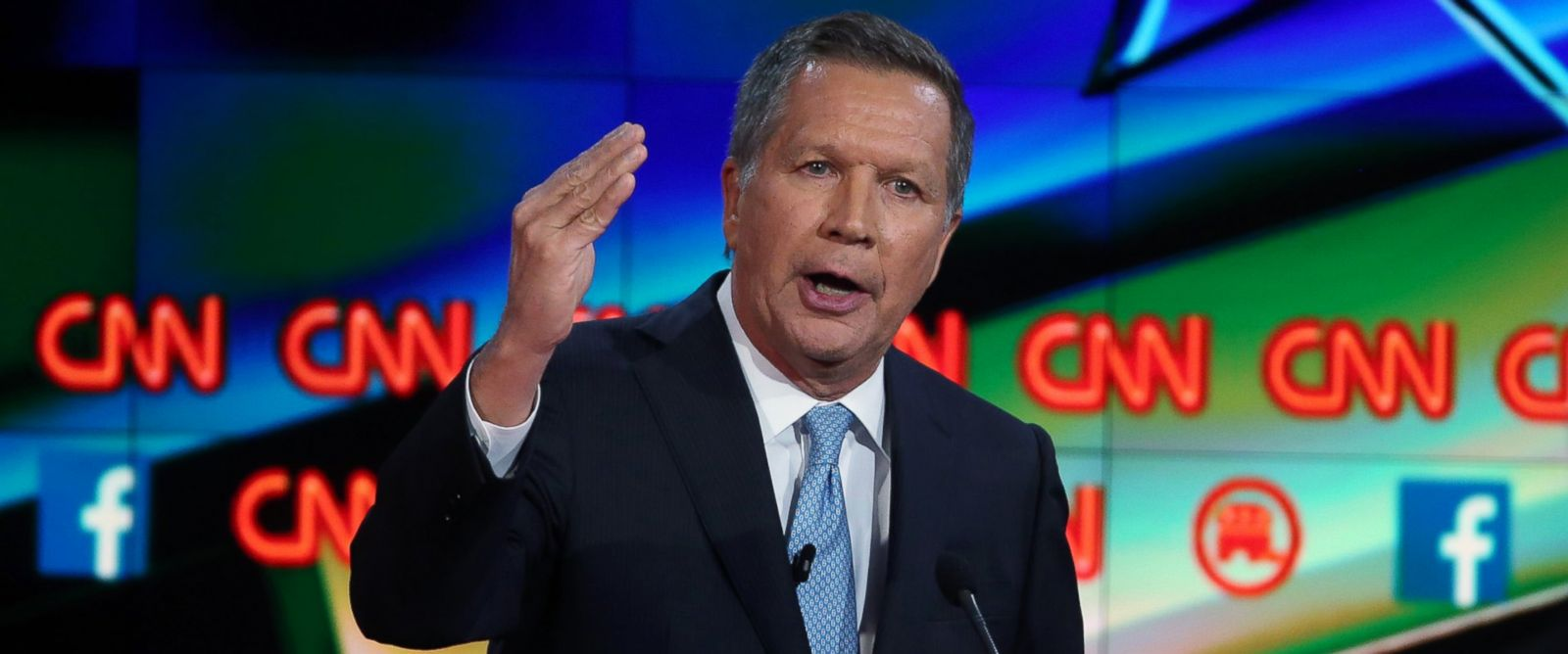 PHOTO: Republican presidential candidate Ohio Gov. John Kasich speaks during the CNN Republican presidential debate, Dec. 15, 2015 in Las Vegas.