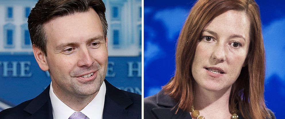 PHOTO: Left, White House Press Secretary Josh Earnest answers questions during his daily briefing in Washington, DC; right, US Department of State Spokesperson Jen Psaki briefs reporters in the press briefing room.
