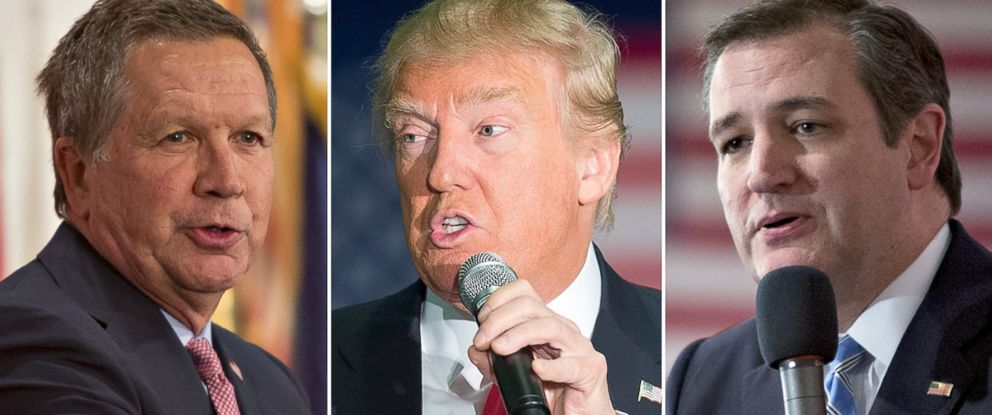 PHOTO: John Kasich, Donald Trump and Ted Cruz campaign for president.