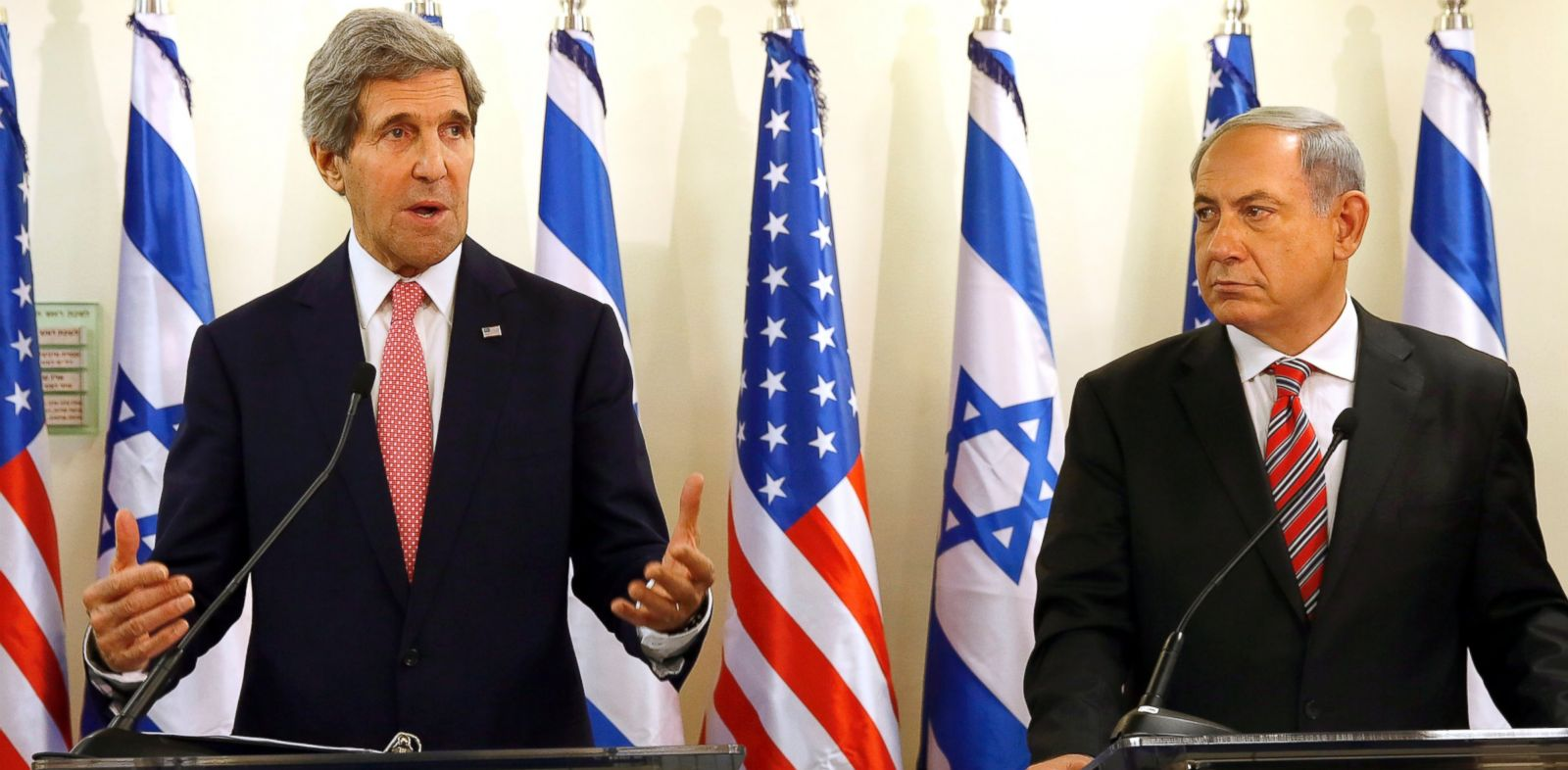 PHOTO: Israeli Prime Minister Benjamin Netanyahu holds a joint press conference with U.S. Secretary Of State John Kerry, Dec. 5, 2013, in Jerusalem, Israel.