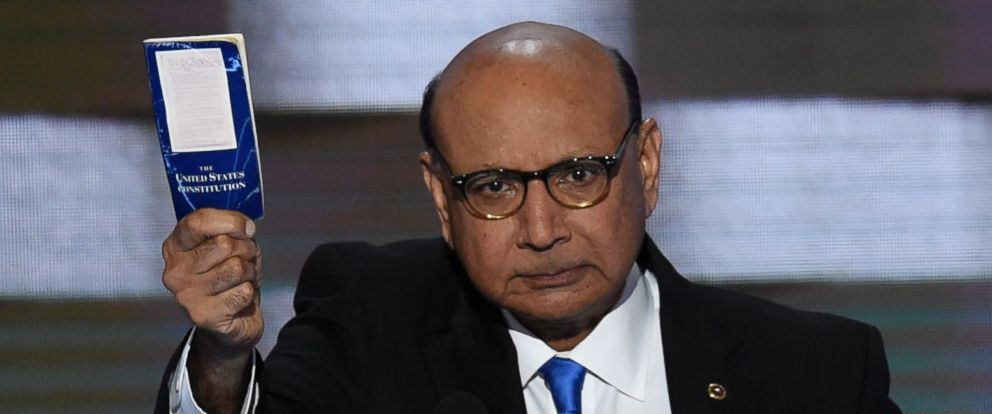 PHOTO: Khizr Khan holds his personal copy of the Constitution at the Democratic National Convention on July 28, 2016, in Philadelphia. Khizr Khans son, Humayun S. M. Khan, was one of 14 American Muslims who died serving the United States.