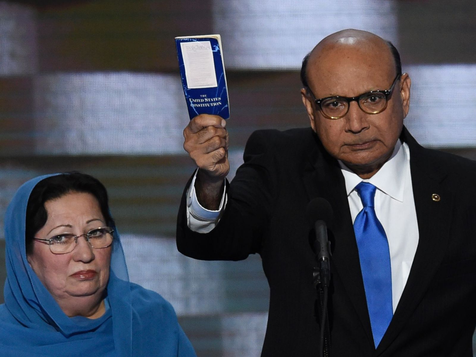 PHOTO: Khizr Khan holds his personal copy of the Constitution at the Democratic National Convention on July 28, 2016, in Philadelphia. Khizr Khan's son, Humayun S. M. Khan, was one of 14 American Muslims who died serving the United States.