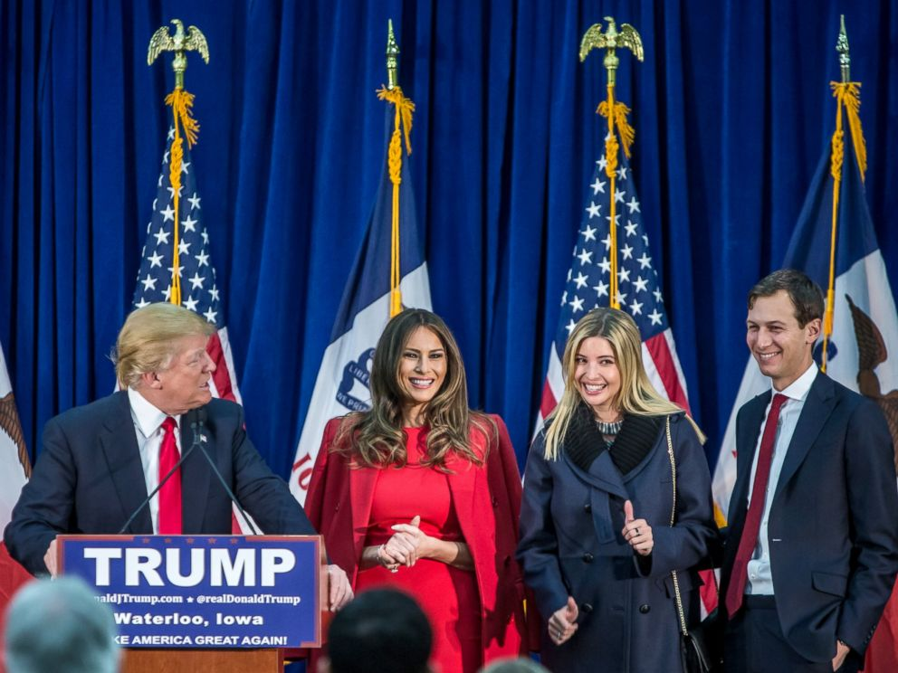 PHOTO: Republican presidential candidate Donald Trump is joined on stage by his wife Melania Trump, daughter Ivanka Trump, and son-in-law Jared Kushner at a campaign rally at the Ramada Waterloo Hotel and Convention Center, Feb. 1, 2016, in Iowa.