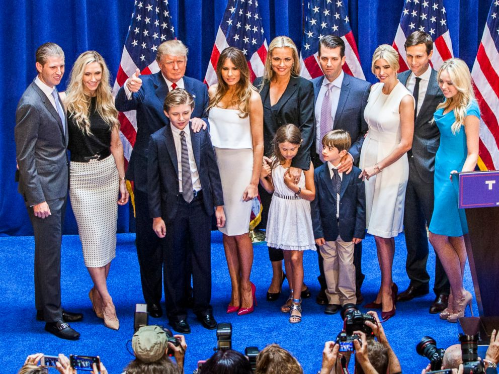 PHOTO: Trump and family on stage a campaign rally in New York City, June 16, 2015.