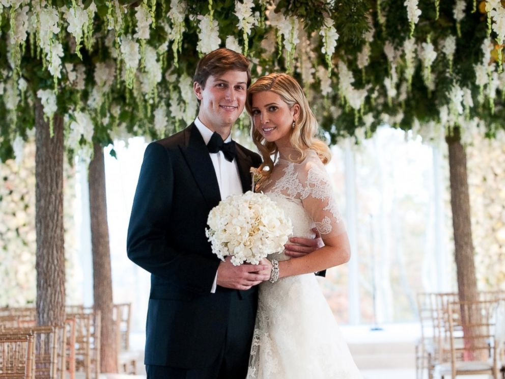PHOTO: Ivanka Trump and Jared Kushner at their wedding at Trump National Golf Club, Oct. 25, 2009, in Bedminster, New Jersey.