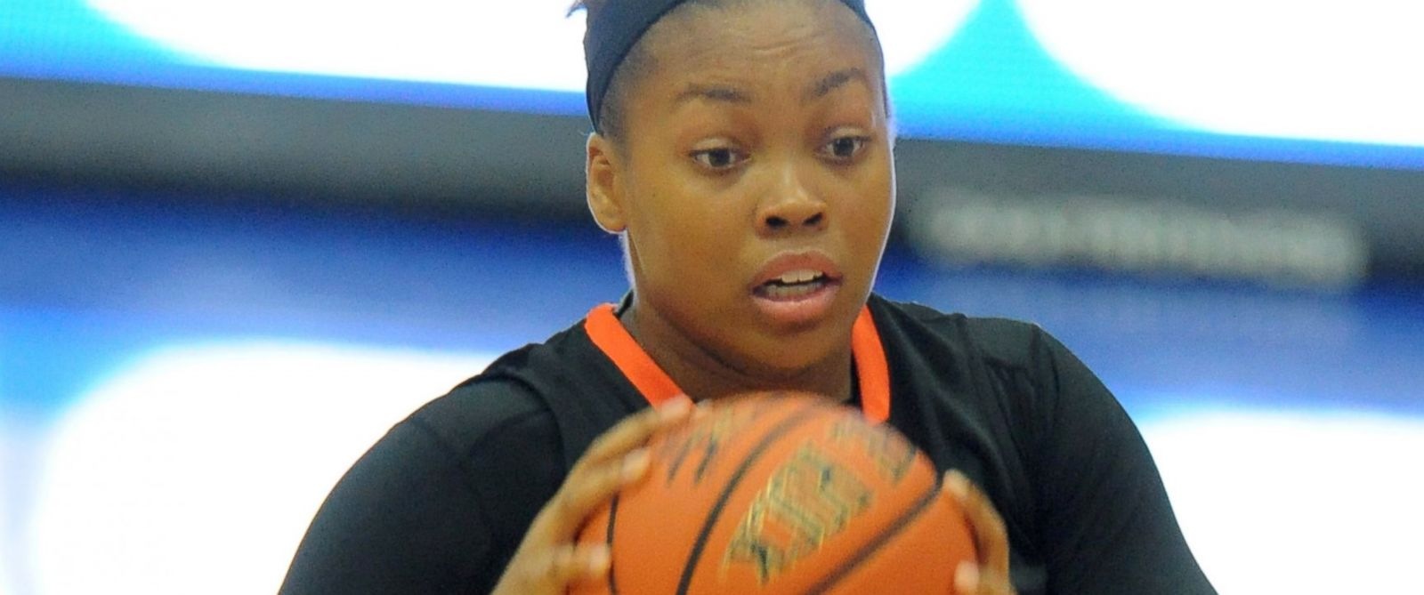 PHOTO: Leslie Robinson #45 of the Princeton Tigers handles the ball during a womens college basketball game against the American University Eagles at Bender Arena, Nov. 23, 2014, in Washington.