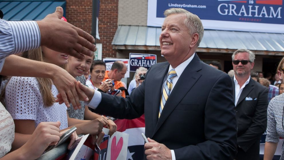 PHOTO: Lindsey Graham shakes hands with supporters after announcing his candidacy for United States President during an outdoor event on June 1, 2015 in Central, S.C.