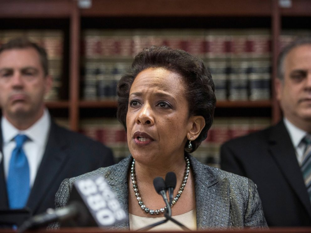 PHOTO: Loretta Lynch, United States Attorney for the Eastern District of New York, speaks at a press conference, April 28, 2014, in New York City.