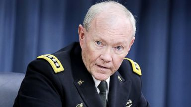 PHOTO: Joint Chiefs of Staff Chairman General Martin Dempsey speaks to the press about the ongoing bombing campaign against militants in Iraq and Syria during a news conference at the Pentagon on Sept. 26, 2014 in Arlington, Va.