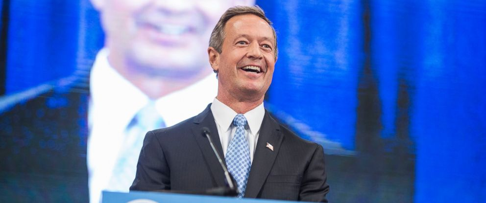 PHOTO: Democratic presidential candidate and former Maryland Governor Martin OMalley talks on stage during the New Hampshire Democratic Party State Convention, Sept. 19, 2015 in Manchester, N.H.