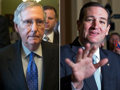 PHOTO: Senate Minority Leader Mitch McConnell, R-Ky., and Sen. Ted Cruz, R-Texas, Oct. 16, 2013, in Washington.