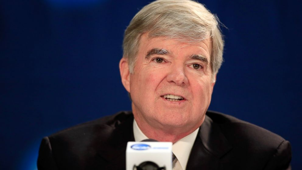 PHOTO: NCAA President Mark Emmert speaks to the media during a press conference at AT&T Stadium, April 6, 2014, in Arlington, Texas.