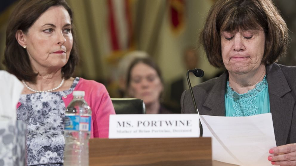 PHOTO: Peggy Portwine (R), mother of Brian Portwine, testifies alongside Susan Selke (L), mother of Clay Hunt during a US House Committee on Veterans Affairs hearing about the VAs Mental Health Care procedures on Capitol Hill, July 10, 2014.