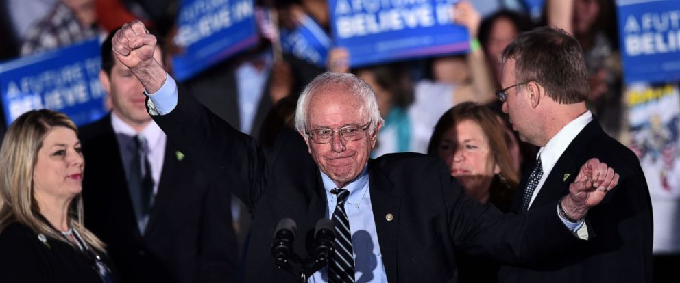 PHOTO: Sen. Bernie Sanders gestures on stage during a primary night rally in Concord, N.H., on February 9, 2016. Sanders was projected to have won the primary, along with Donald Trump.