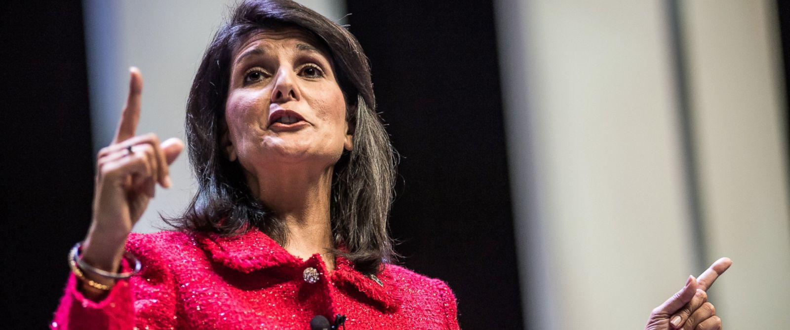 PHOTO: South Carolina Governor and moderator of the Heritage Action Presidential Candidate Forum Nikki Haley speaks to the crowd, Sept. 18, 2015, in Greenville, South Carolina.