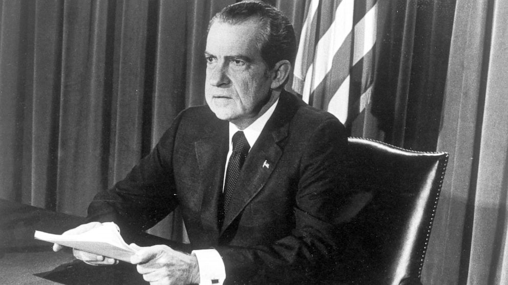 PHOTO: President Richard Nixon announces his resignation on television in Washington in this Aug 8, 1974, file photo.
