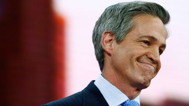 PHOTO: Sen. Norm Coleman, R-MN, smiles on stage on day two of the Republican National Convention at the Xcel Energy Center on Sept. 2, 2008 in St. Paul, Minn.