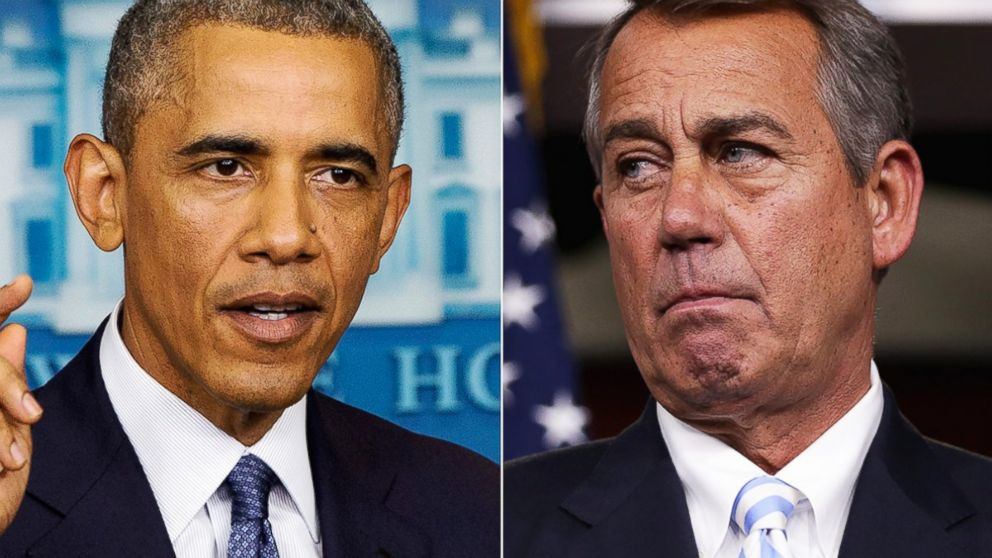 PHOTO: President Barack Obama, left, speaks at the White House in Washington, D.C. on Aug. 1, 2014. Rep. John Boehner, right, is pictured in Washington, D.C. on July 31, 2014.