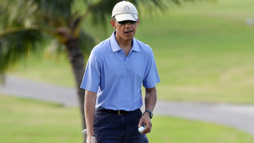 PHOTO: US President Barack Obama plays golf at Mid-Pacific Country Club in Kailua, Hawaii, in this file photo.