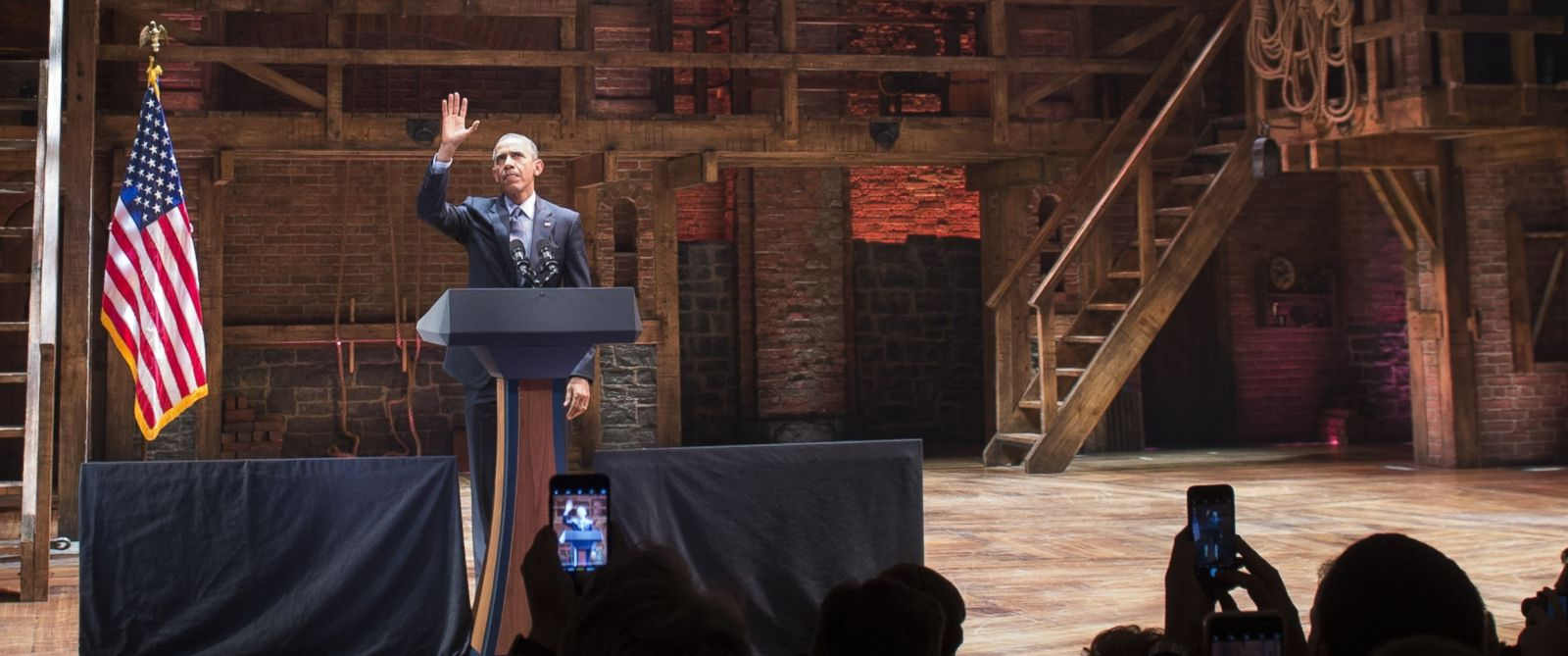 """PHOTO: President Barack Obama speaks during a Democratic fundraiser following a special performance of the Broadway show, """"Hamilton,"""" at the Richard Rodgers Theatre in New York, Nov. 2, 2015."""