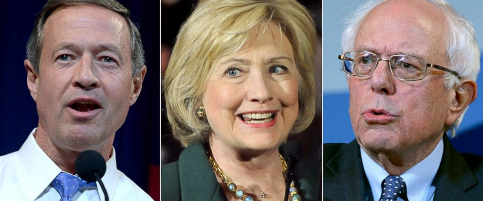 PHOTO: Martin OMalley, Hillary Clinton and Bernie Sanders will partake in the ABC News Democratic debate on Dec. 19, 2015.