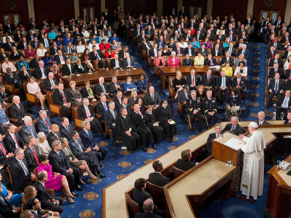 PHOTO: Pope Francis addresses a joint meeting of Congress in the House chamber of the Capitol, Sept. 24, 2015.