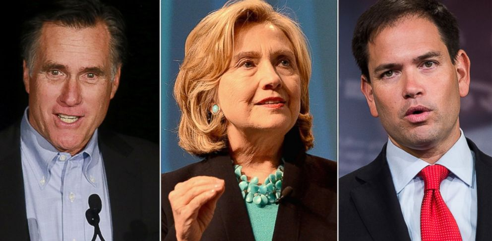 PHOTO: From left, Mitt Romney, Hillary Clinton and Marco Rubio are pictured.