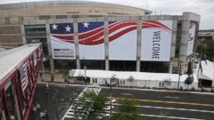 PHOTO: The Quicken Loans Arena is seen amid preparations for the arrival of visitors and delegates for the Republican National Convention, July 16, 2016, in Cleveland, Ohio.