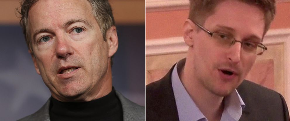PHOTO: (L-R) Sen. Rand Paul, R-KY, in Washington, March 13, 2013. | Edward Snowden in a frame grab made from AFPTV footage at an unidentified location, Oct. 9, 2013.