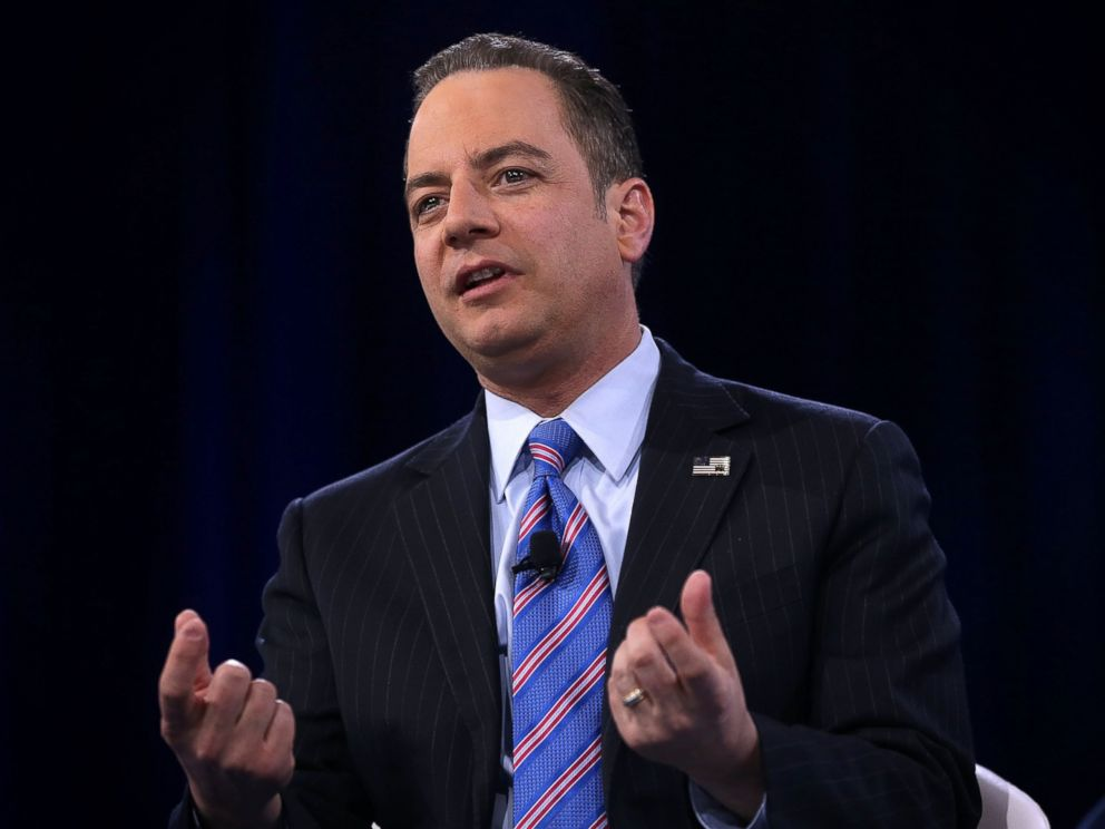 PHOTO: Chairman of the Republican National Committee Reince Priebus participates in a discussion during CPAC 2016, March 4, 2016 in National Harbor, Md.