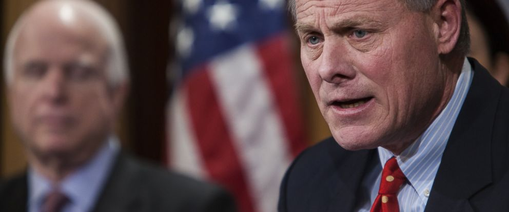 PHOTO: Senator Richard Burr speaks at a press conference to announce new proposed legislation to limit President Obamas ability to release prisoners from Guantanamo in Washington, Jan. 13, 2015.