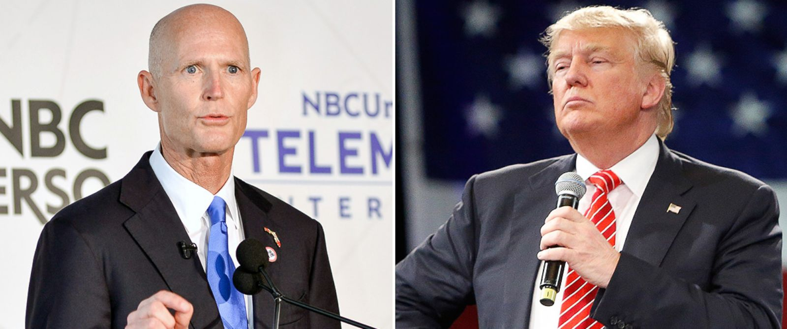 PHOTO: Gov. Rick Scott, left, and Donald Trump.