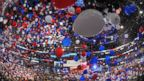 PHOTO: Balloons swirl in the air following Republican presidential at the Tampa Bay Times Forum