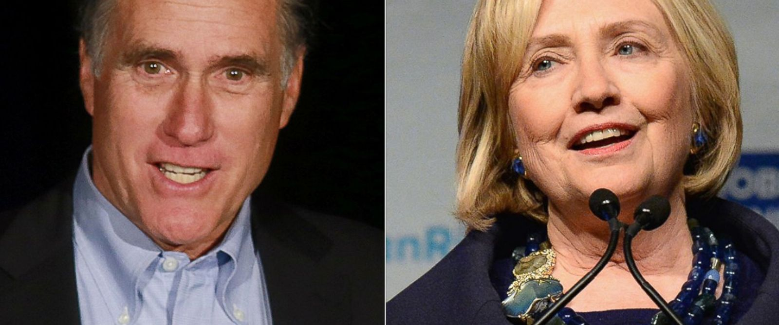 PHOTO: Mitt Romney, left, is pictured on Jan. 16, 2015 in San Diego, Calif. Hillary Clinton, right, is pictured on Dec. 16, 2014 in New York City.