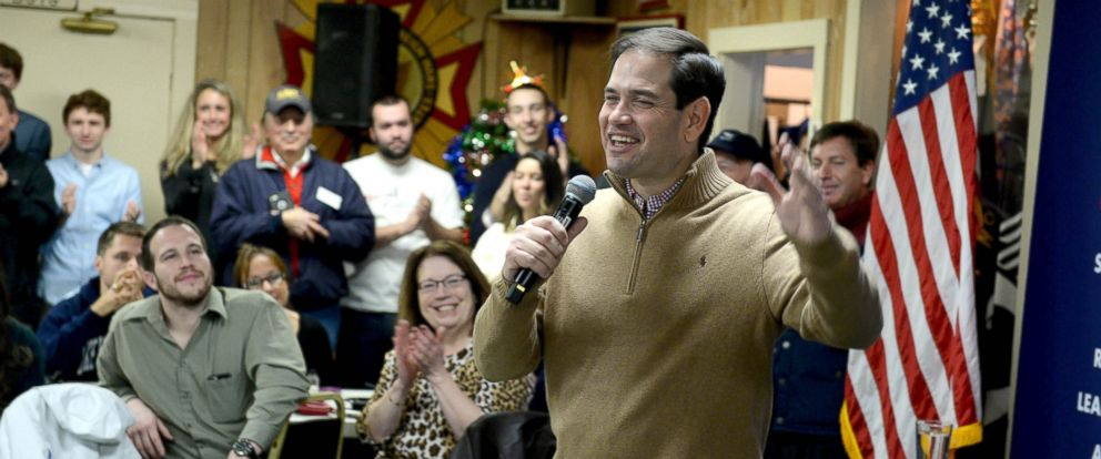 PHOTO: Republican Presidential candidate Marco Rubio speaks at a pancake breakfast at the Franklin VFW, Dec. 23, 2015 in Franklin, N.H.