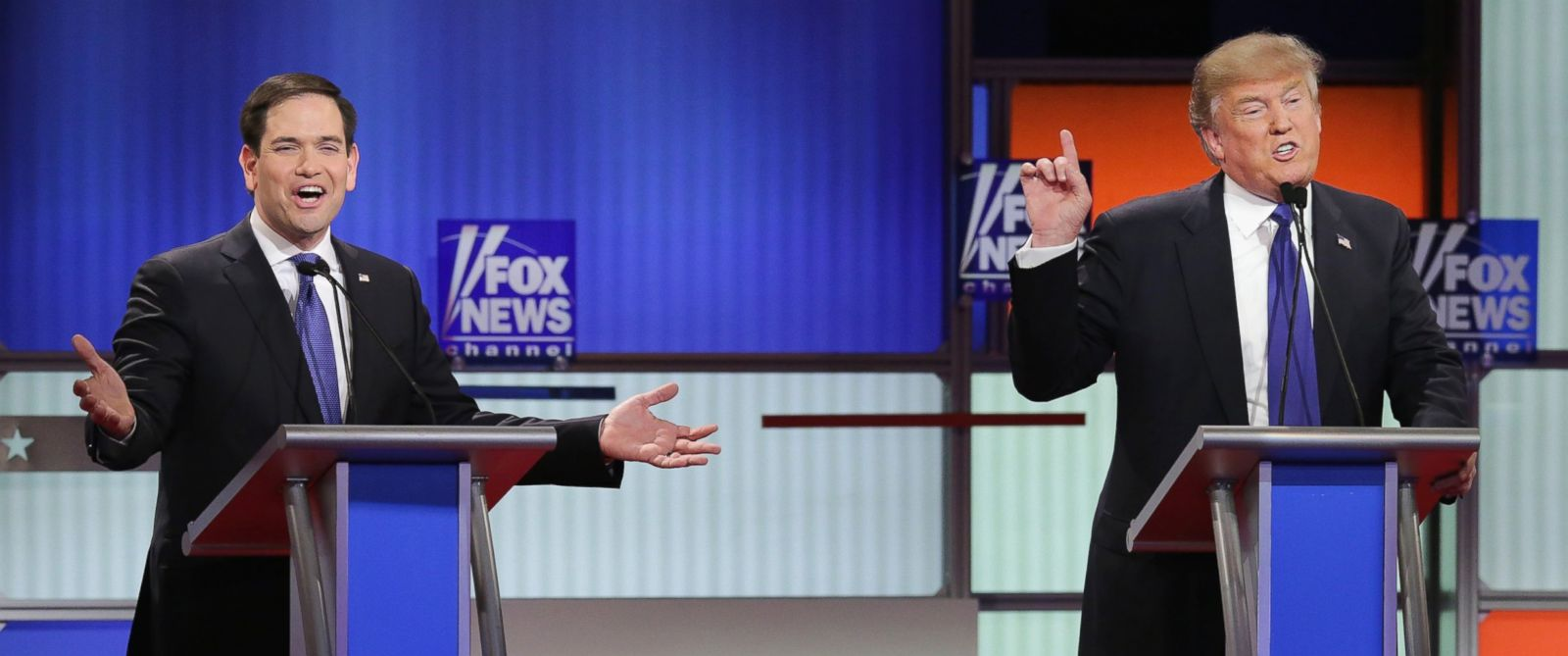 PHOTO: Republican presidential candidates Sen. Marco Rubio and Donald Trump participate in a debate sponsored by Fox News at the Fox Theatre on March 3, 2016 in Detroit.
