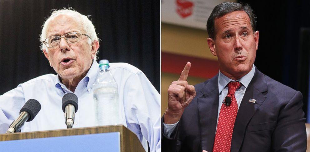 PHOTO: Bernie Sanders, left, is pictured on July 26, 2015 in Kenner, La. Rick Santorum, right, is pictured on July 18, 2015 in Ames, Iowa.