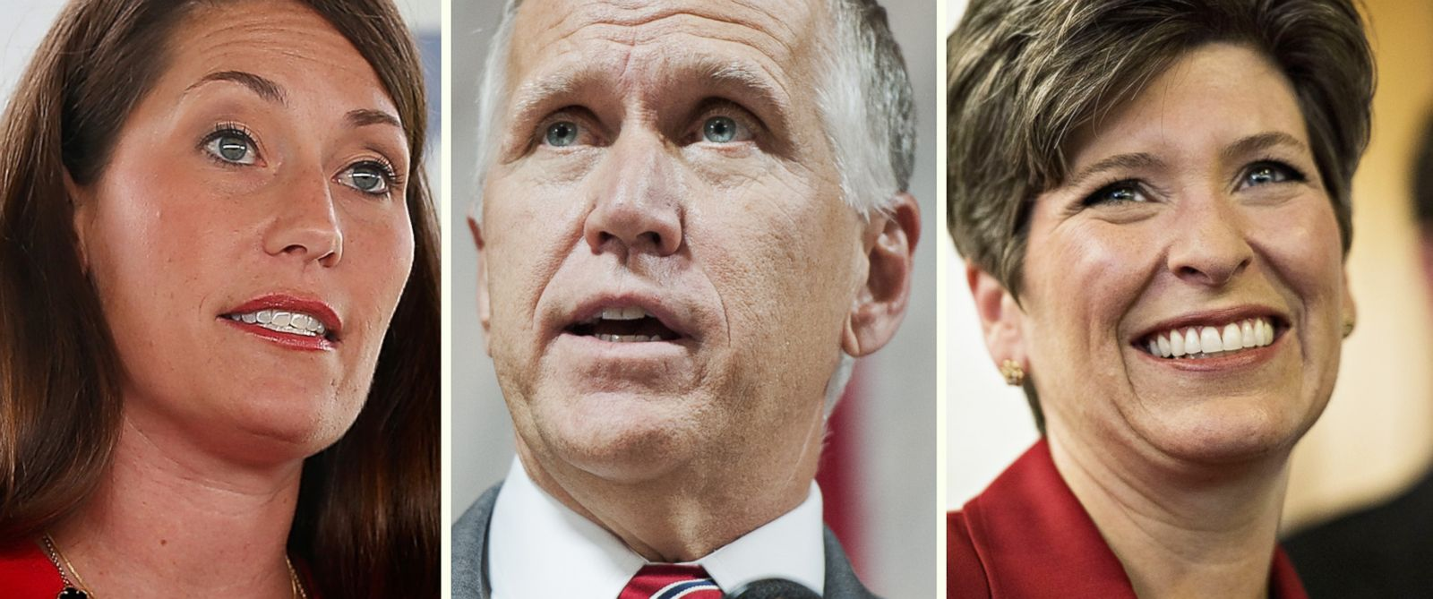 PHOTO: Senate candidates Alison Lundergan Grimes, Thom Tillis, and Joni Ernst have attacked their opponents during this campaign cycle for missing hearings and meetings at the Capitol.