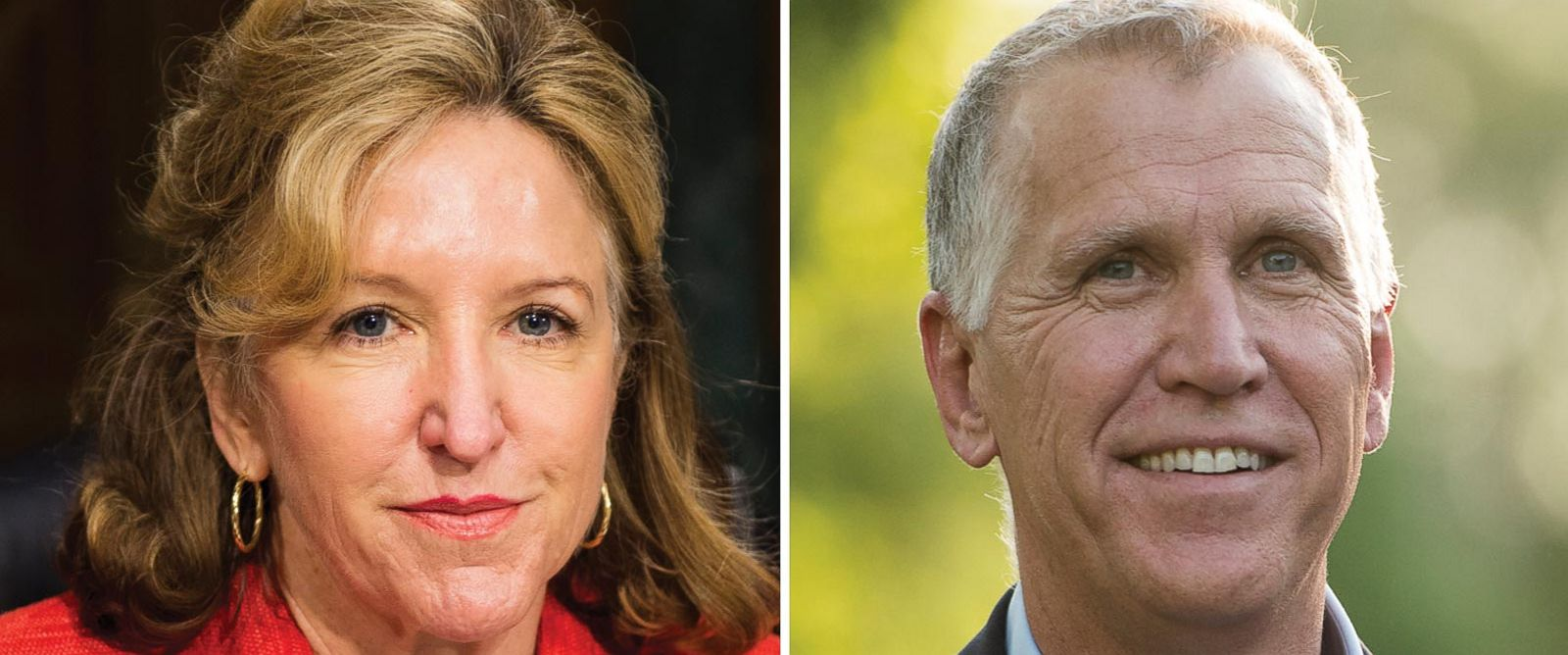 PHOTO: Sen. Kay Hagan, D-N.C., left, takes her seat for the Senate Banking, Housing and Urban Affairs Committee hearing in this July 15, 2014, file photo; right, N.C. Speaker of the House and GOP Senate candidate Thom Tillis knocks on doors in an upscale