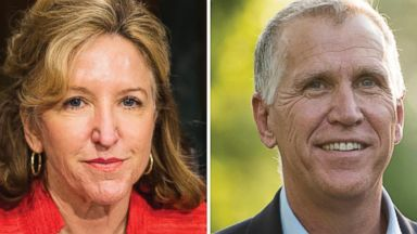 PHOTO: Left, Sen. Kay Hagan, D-N.C., takes her seat for the Senate Banking, Housing and Urban Affairs Committee hearing in this July 15, 2014, file photo; right, NC Speaker of The House and GOP Senate candidate Thom Tillis, R-NC, on May 5, 2014.