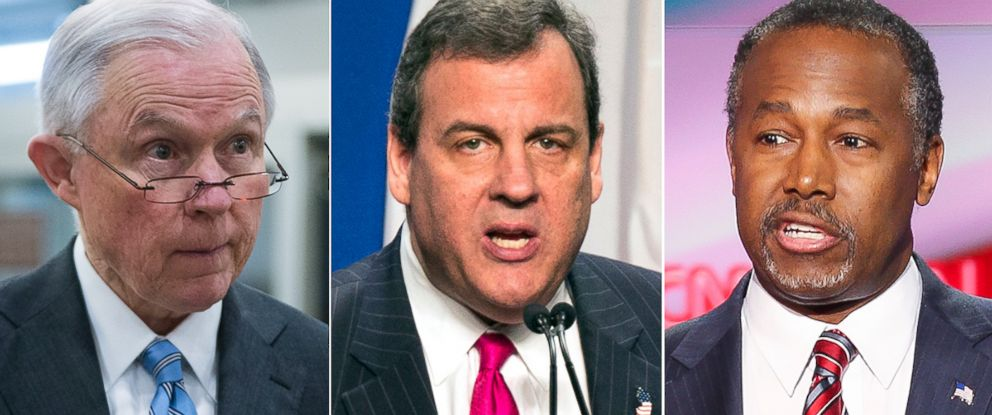 PHOTO: Jeff Sessions, left, Chris Christie and Ben Carson have all endorsed Donald Trump for president.