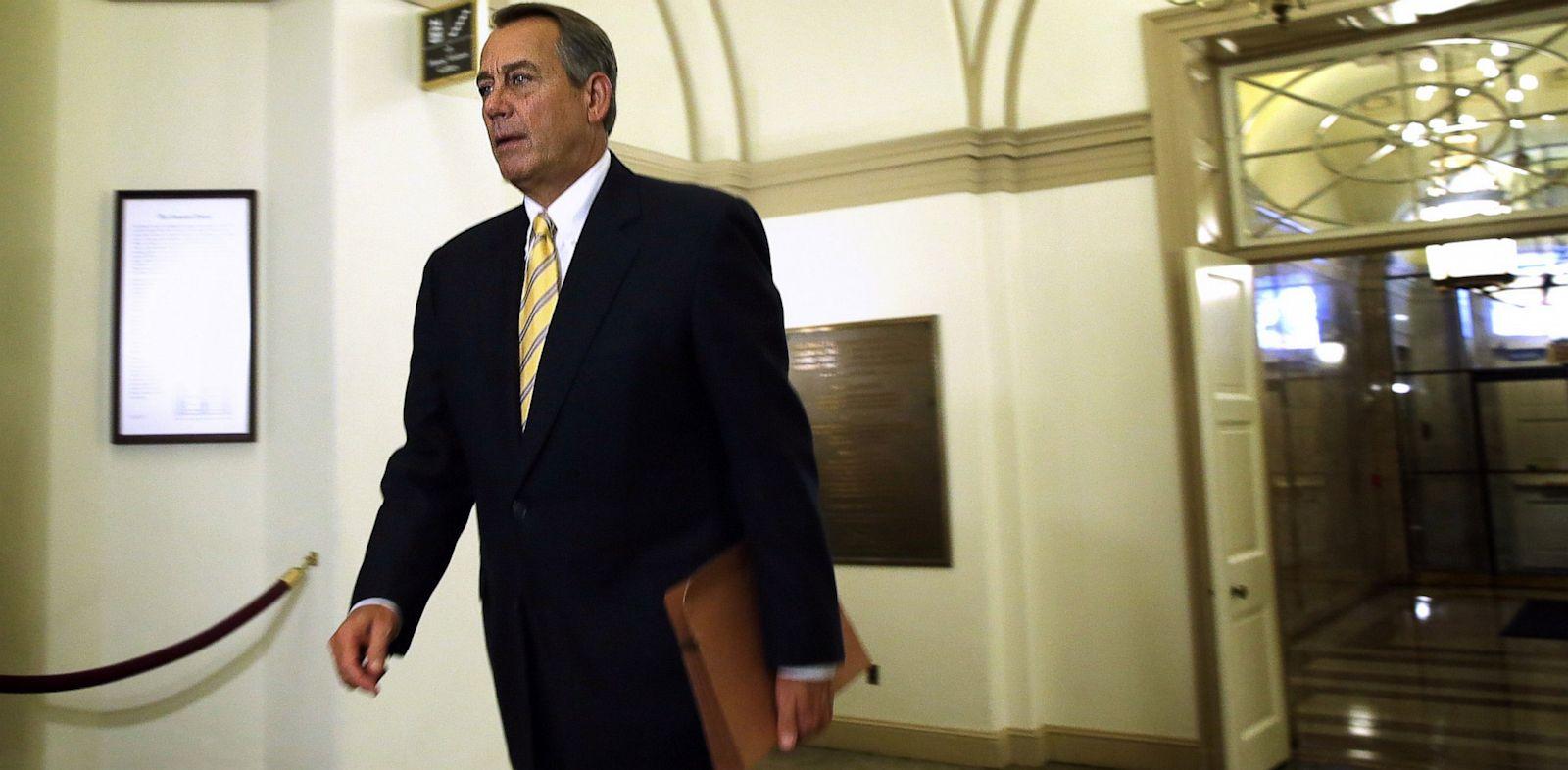 PHOTO: Rep. John Boehner arrives at the U.S. Capitol in Washington, DC., Oct. 9, 2013.