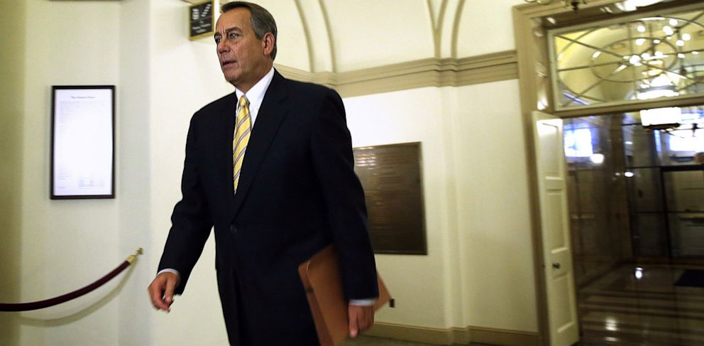 PHOTO: Rep. John Boehner arrives at the U.S. Capitol in Washington, DC., Oct. 9, 2013.