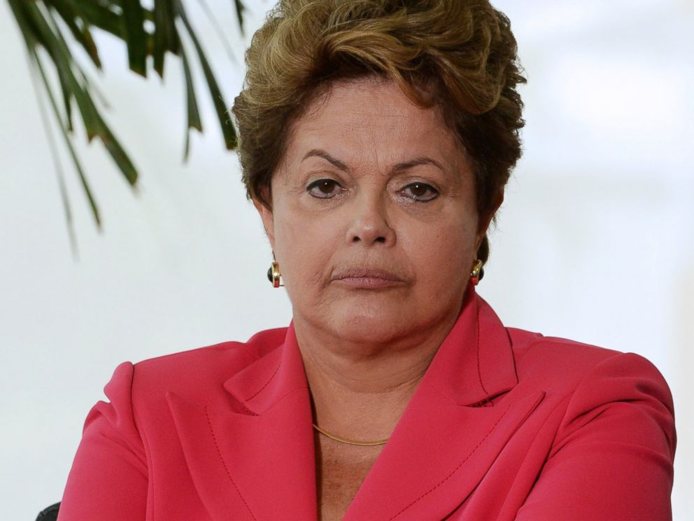 PHOTO: Brazilian President Dilma Rousseff listens to questions during a meeting at her office at the Planalto Palace in Brasilia, Brazil, July 11, 2013.