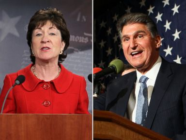 PHOTO: Sens. Susan Collins and Joe Manchin