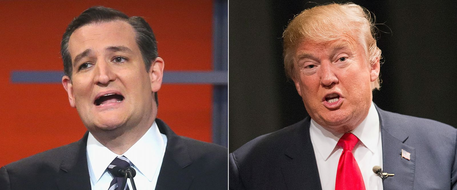 PHOTO: (L-R) Republican presidential candidate Sen. Ted Cruz during the first Republican presidential debate in Cleveland, Ohio, Aug. 6, 2015. | Republican presidential candidate Donald Trump in Newton, Iowa, Nov. 19, 2015.